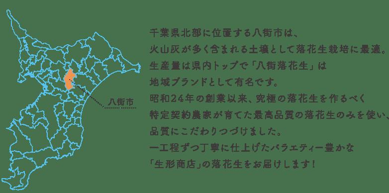 千葉県北部に位置する八街市は、火山灰が多く含まれる土壌として落花生栽培に最適。生産量は県内トップで「八街落花生」は地域ブランドとして有名です。昭和24年の創業以来、究極の落花生を作るべく特定契約農家が育てた最高品質の落花生のみを使い、品質にこだわりつづけました。一工程ずつ丁寧に仕上げたバラエティー豊かな「生形商店」の落花生をお届けします!