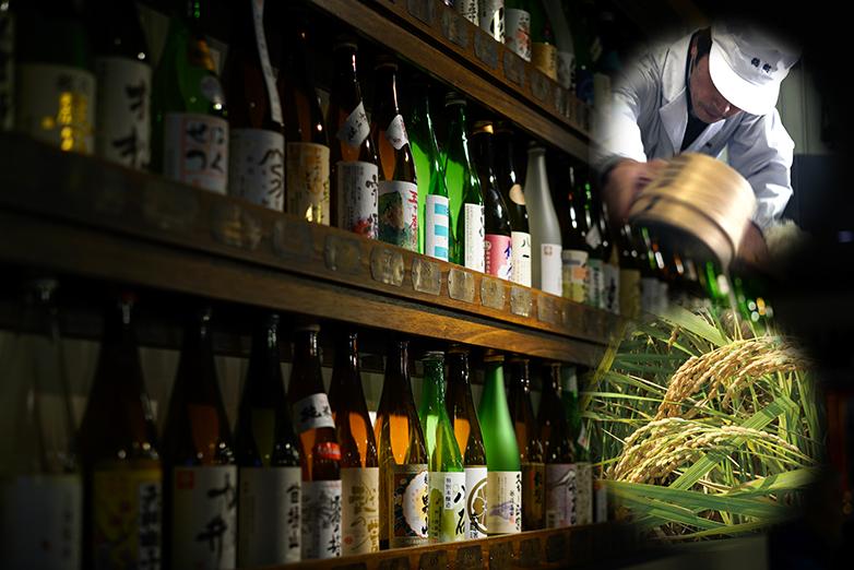 棚に並んだ日本酒