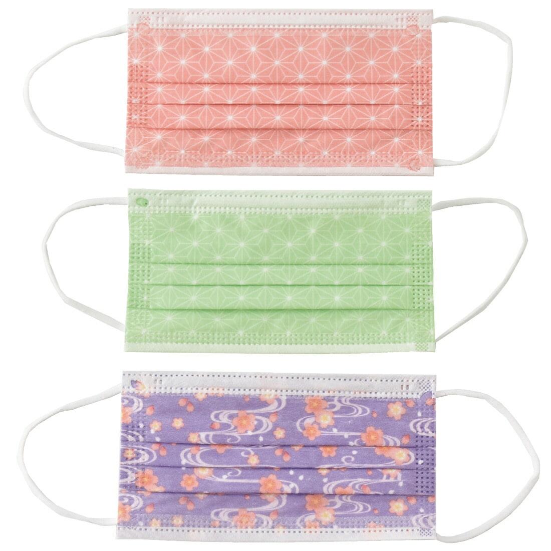 不織布マスク カラー 柄 日本製 サージカルマスク 30枚入 標準 全2種 使い捨て 3層構造 花粉 PM2.5対策 個包装 おしゃれ 通年用 大人 女性 男性 標準 和柄_ピンク・緑・紫